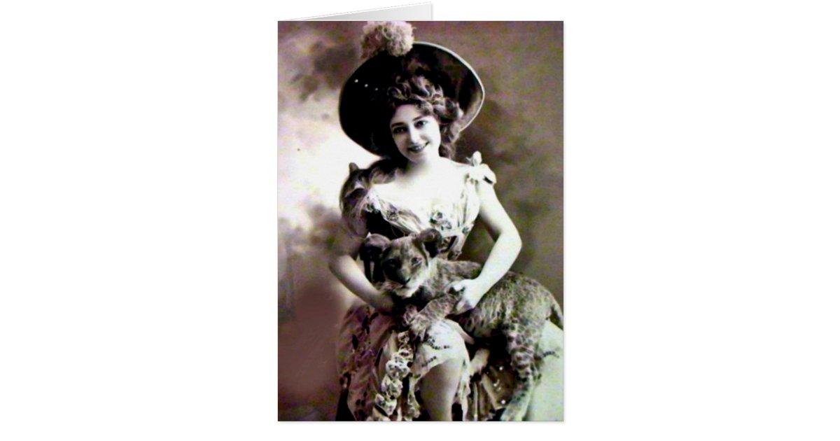 Vintage Cat Lady Birthday Card