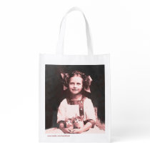 Vintage Cat Lady Tabby Kitten Grocery Tote Bag