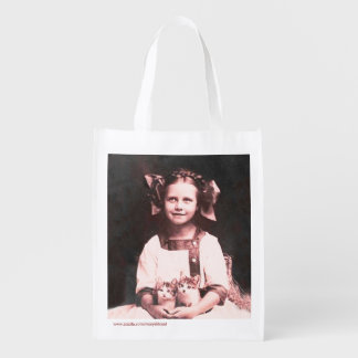 Vintage Cat Lady Tabby Kitten Grocery Tote Bag Market Totes