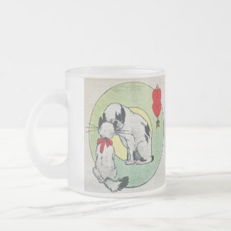 Vintage Cat Love Frosted Glass Coffee Mug