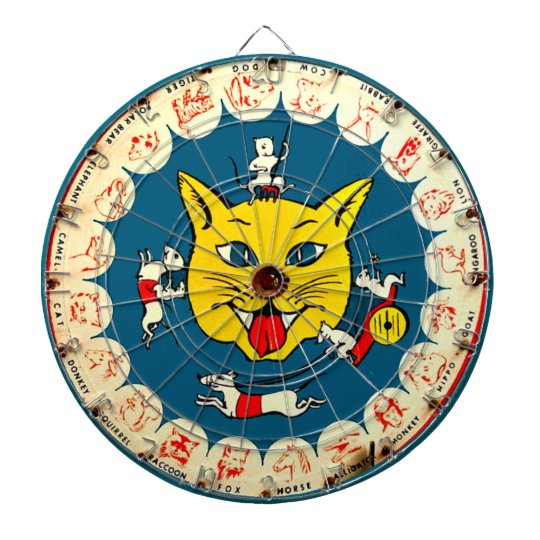 Vintage Cat Mice Toy Dart Game Kids Room Dartboard Zazzle Com