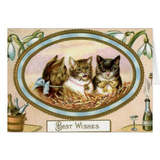 Vintage Cat New Year's Greeting Card