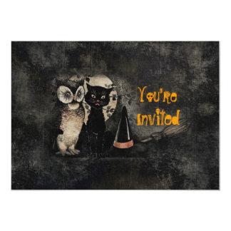 Vintage Cat Owl Black Halloween Party Invitation
