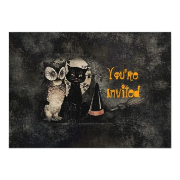 MarceeJean Vintage Cat Owl Black Halloween Party Invitation