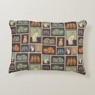 Vintage Cat Pattern Accent Pillow