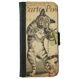 Vintage Cat Playing a Violin iPhone 6/6s Wallet Case