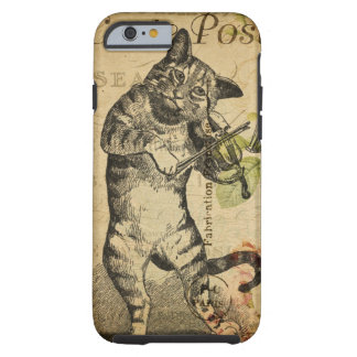 Vintage Cat Playing a Violin Tough iPhone 6 Case