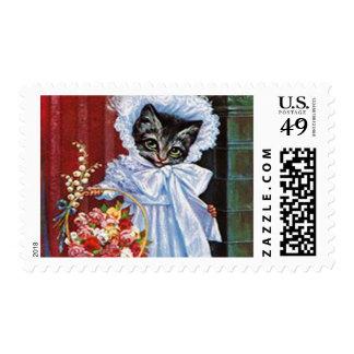 Vintage Cat Postage Stamps, Arthur Thiele