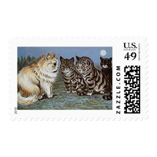 Vintage Cat Postage Stamps, Louis Wain Cats
