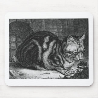 Vintage Cat Print Mouse Pad