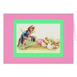 Vintage Cat Ringmaster & Easter Chicks Greeting Card