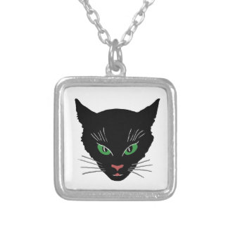 Vintage Cat Silver Plated Necklace
