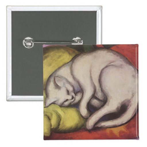 Vintage Cat Sleeping 2 Inch Square Button