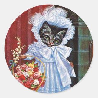 Vintage Cat Sticker, Arthur Thiele Classic Round Sticker