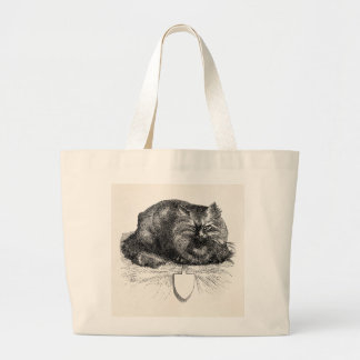 Vintage Cat Tag Angry Black Cats Animal Large Tote Bag