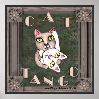Vintage Cat Tango Poster