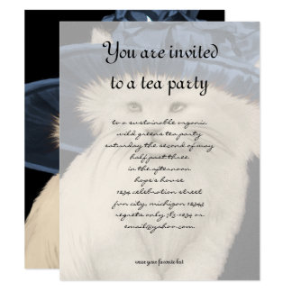 Vintage Cat Tea Party Invitation Vintage Blue Hat