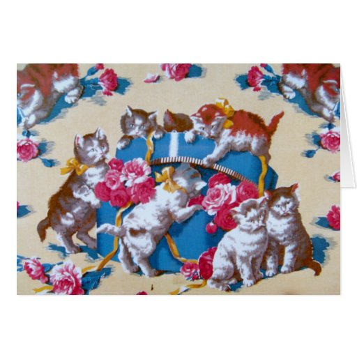 Vintage Cat Thank You Greeting Cards