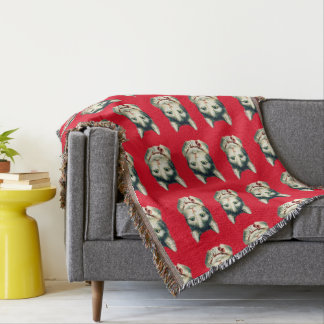 VINTAGE CAT THROW RED BACKGROUND