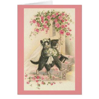 Vintage Cat Wedding Greeting Card
