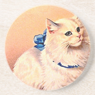 Vintage Cat with Blue Bow Coasters