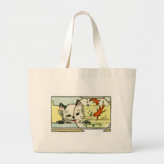 Vintage Cat with Fish Bowl Tote Bags