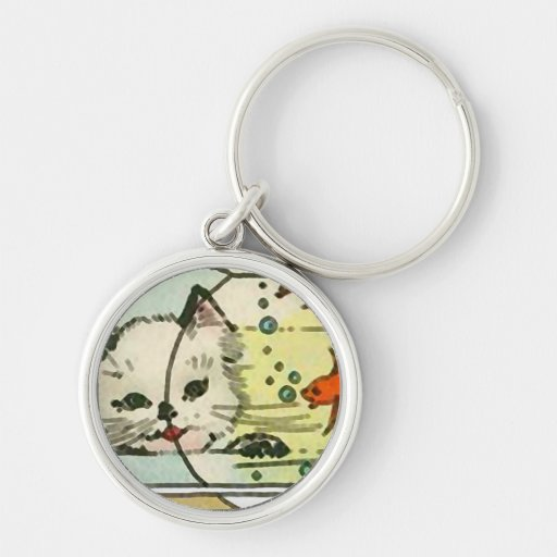 Vintage Cat with Fish Bowl Keychain