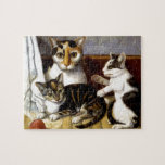 Vintage Cat with Kittens Jigsaw Puzzles