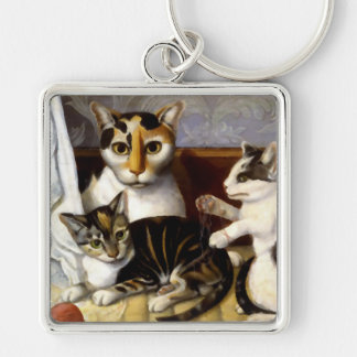 Vintage Cat with Kittens Keychain
