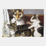 Vintage Cat with Kittens Kitchen Towel