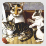 Vintage Cat with Kittens Square Sticker