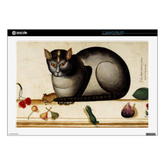 """Vintage Cat with Mouse 17"""" Laptop Skin"""