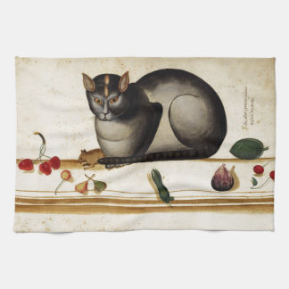 Vintage Cat with Mouse Hand Towel