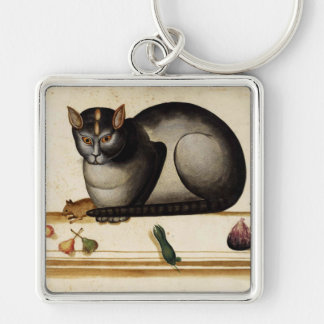 Vintage Cat with Mouse Keychain