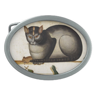 Vintage Cat with Mouse Oval Belt Buckle