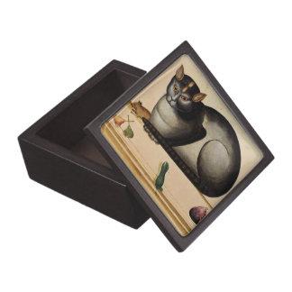 Vintage Cat with Mouse Premium Trinket Box