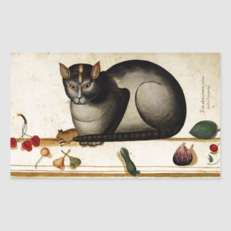 Vintage Cat with Mouse Rectangular Stickers