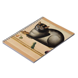 Vintage Cat with Mouse Spiral Notebooks