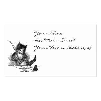 Vintage Cat Writing a Letter Double-Sided Standard Business Cards (Pack Of 100)