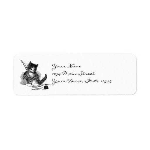 Vintage Cat Writing a Letter Custom Return Address Label