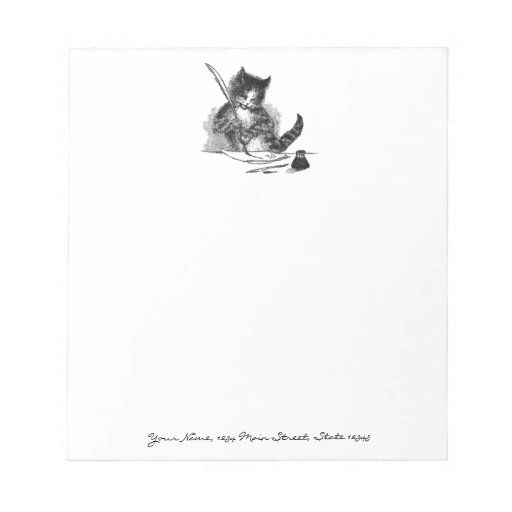 Vintage Cat Writing a Letter Memo Notepads
