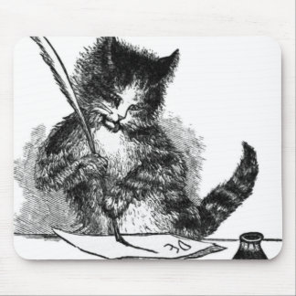 Vintage Cat Writing a Letter Mouse Pad