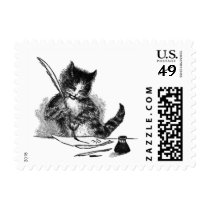 Vintage Cat Writing a Letter Postage