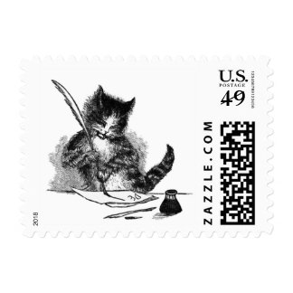 Vintage Cat Writing a Letter Postage Stamp