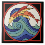 """Vintage Catalina Island Flying Fish Tile<br><div class=""""desc"""">Vintage 1930s Catalina Island Flying Fish Tile Design seen at Toyon Bay on Catalina Island.</div>"""