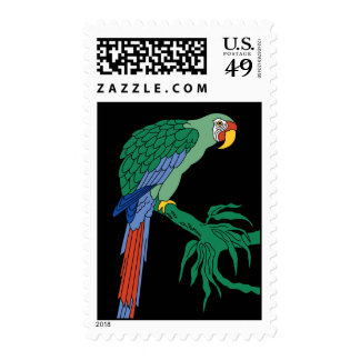 Vintage Catalina Island Green Macaw Tile Mural Postage