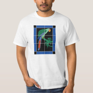 Vintage Catalina Island Green Macaw Tile Mural T-Shirt
