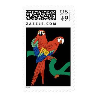 Vintage Catalina Island Red Parrots Tile Mural Postage Stamps