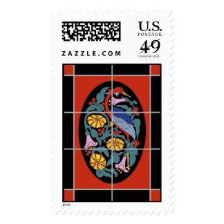 Vintage Catalina Island Tile Fantasy Crane Postage Stamp