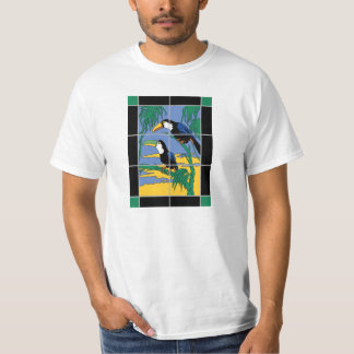Vintage Catalina Island Tile Toucan Mural Design T-Shirt